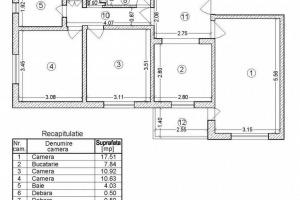 Apartament 3 camere, decomandat, 68mp langa Metrou C-tin Brancoveanu.