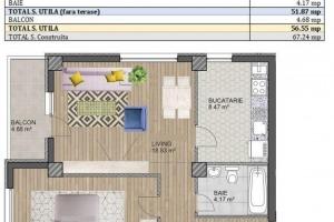 Apartament cu 2 camere zona metrou Brancoveanu