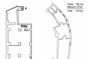 Centrul Istoric: Spatiu comercial 157mp; (Parter=120mp, Mezanin=37mp).