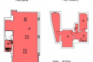 Centrul Istoric: Spatiu comercial 139mp; (Parter=98mp, Mezanin=41mp).